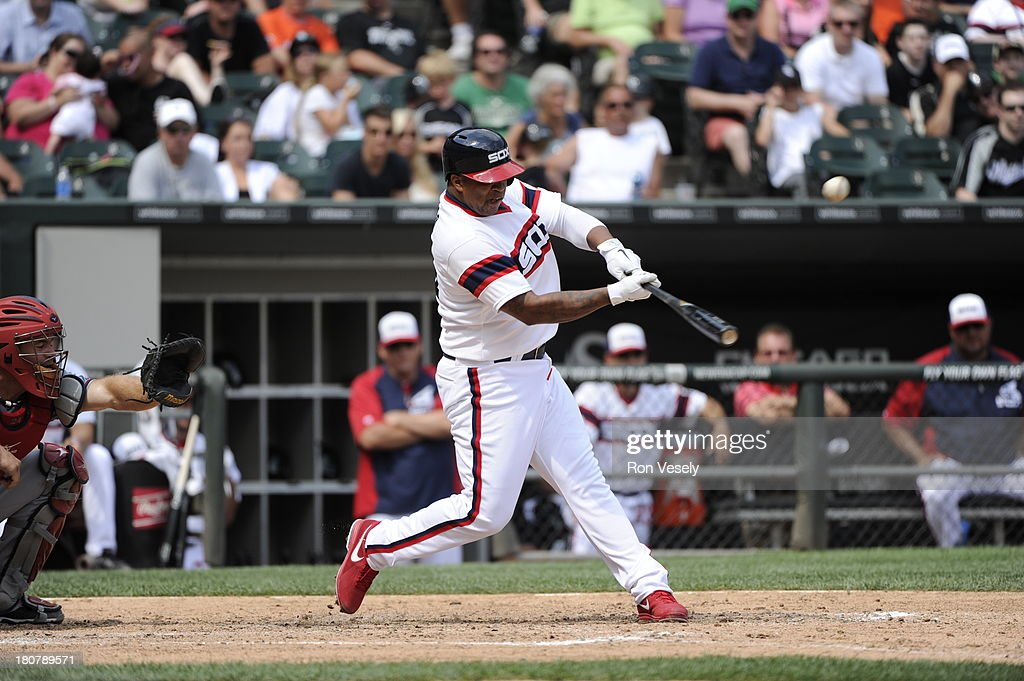 Dayan Viciedo #24 of the Chicago White Sox bats against the Atlanta Braves on July 21, 2013 at U.S. Cellular Field in Chicago, Illinois. The White Sox defeated the Braves 3-1.