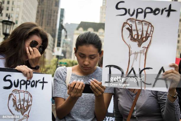 Dayana Arrue Sofia Ruales and Erica Ruales all in their early 20s and ÔdreamersÕ originally from Ecuador watch Attorney General Jeff Sessions'...