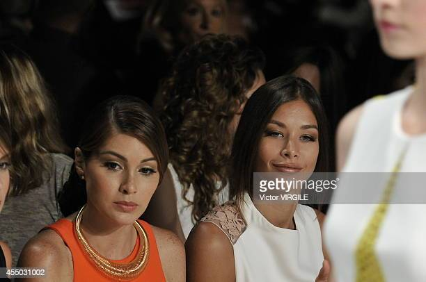 Dayana Mendoza and Gabriela Isler at the Angel Sanchez fashion show during MercedesBenz Fashion Week Spring 2015 at The Pavilion at Lincoln Center on...