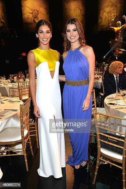 Dayana Mendoza and Stefania Fernandez attend the inaugural Premios Univision Deportes backstage at Univision Studios on December 18 2014 in Miami...