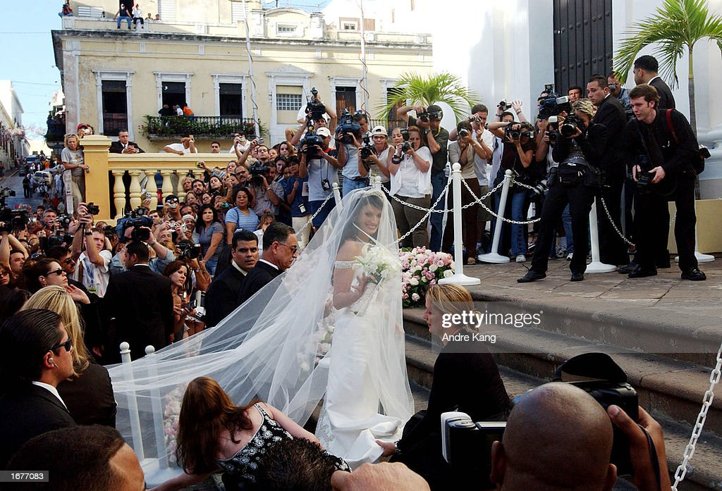 Dayanara Torres, 1993 Miss Universe, arrives at the Old San Juan Cathedral for her Catholic wedding with singer Marc Anthony December 7, 2002 in San Juan, Puerto Rico.