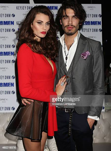 Dayane Mello and Stefano Sala attend the Formen Maxi Calendar Presentation on December 9 2014 in Milan Italy