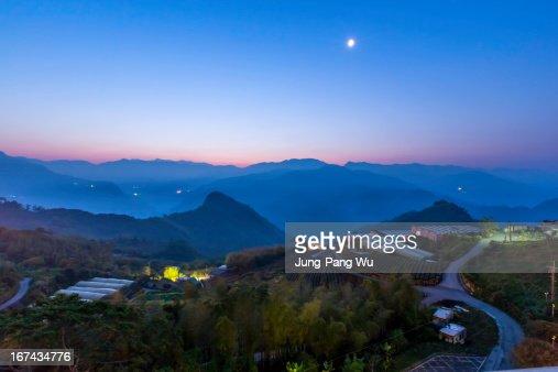 Daybreaking at a Mountain Village : Foto de stock
