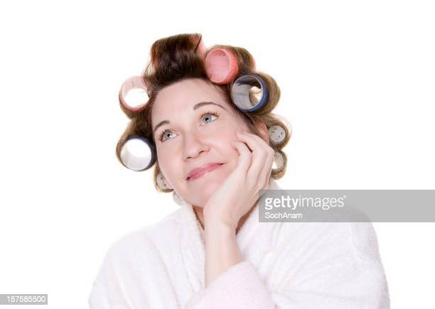 Daydreaming Woman In Hair Curlers
