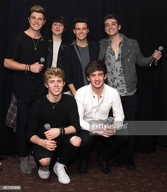 Dayl Cronin Brendan Murray Josh Gray Cian Morrin Ryan McLoughlin and Dean Gibbons of Hometown pose backstage at GAY Club at Heaven on September 5...