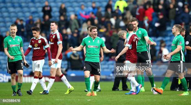 Dayle Southwell of Lincoln City celebrates after The Emirates FA Cup Fifth Round match between Burnley and Lincoln City at Turf Moor on February 18...