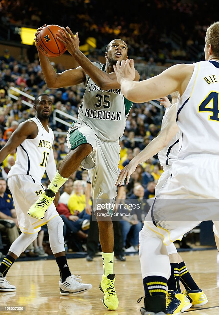 Daylen Harrison #35 of the Eastern Michigan Eagles tries to get a second half shot off while playing the Michigan Wolverines at Crisler Center on December 20, 2012 in Ann Arbor, Michigan.