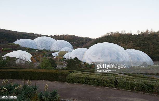 A daylight general view of The Eden Project is seen on November 23 2016 in St Austell England A new laser light and sound show curated by acclaimed...