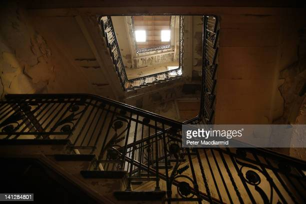 Daylight shines down the main stairwell in the old Harland and Wolff Drawing Office in The Titanic Quarter on March 13 2012 in Belfast Northern...