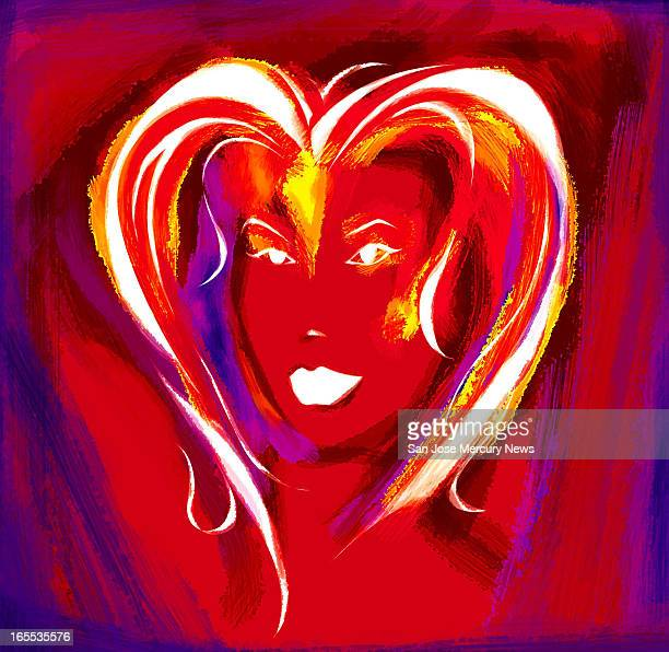 Daymond Gascon color illustration of woman with heartshaped hair on red background