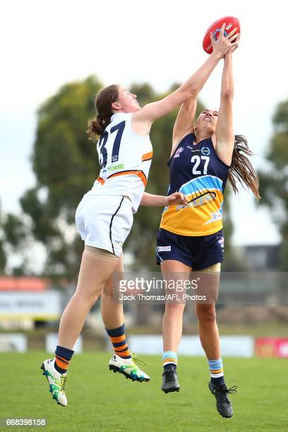 Dayna KellyGuthrie of the Bendigo Pioneers and Eleanor Cornish of the Calder Cannons compete for the ball during to the TAC Cup Girls round five...