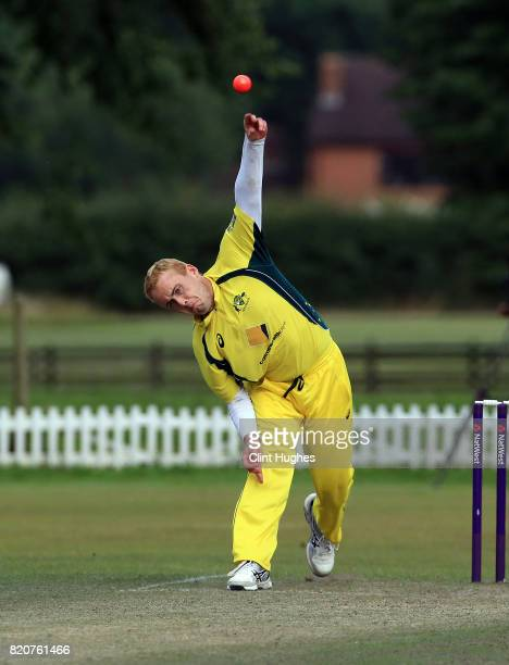 Daynah Hopkins of Australia bowls during the T20 INAS TriSeries against South Africa at Toft Cricket Club on July 18 2017 in Knutsford England