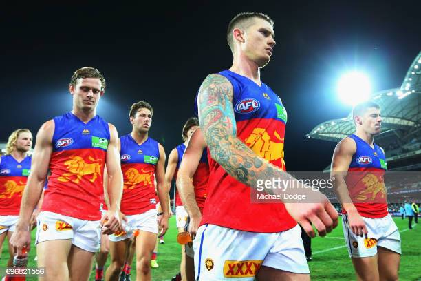 Dayne Beams of the Lions looks dejected after defeat during the round 13 AFL match between the Port Adelaide Power and the Brisbane Lions at Adelaide...