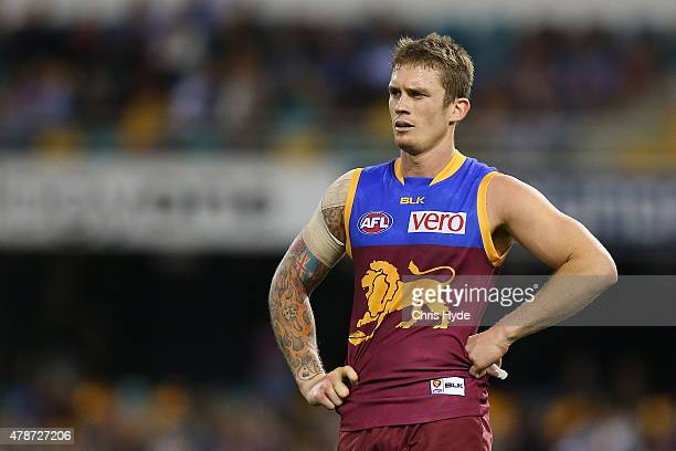Dayne Beams of the Lions looks on during the round 13 AFL match between the Brisbane Lions and the Adelaide Crows at The Gabba on June 27 2015 in...