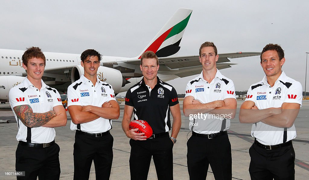 Dayne Beams, Scott Pendlebury, Nathan Buckley, Nick Maxwell and Luke Ball pose during the Collingwood Magpies 2013 Captaincy And Leadership Group Announcement at Melbourne Airport on February 5, 2013 in Melbourne, Australia.