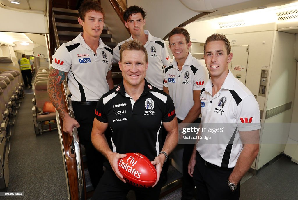 <a gi-track='captionPersonalityLinkClicked' href=/galleries/search?phrase=Dayne+Beams&family=editorial&specificpeople=5654747 ng-click='$event.stopPropagation()'>Dayne Beams</a>,Scott Pendlebury, <a gi-track='captionPersonalityLinkClicked' href=/galleries/search?phrase=Luke+Ball&family=editorial&specificpeople=208157 ng-click='$event.stopPropagation()'>Luke Ball</a> and captain <a gi-track='captionPersonalityLinkClicked' href=/galleries/search?phrase=Nick+Maxwell&family=editorial&specificpeople=596853 ng-click='$event.stopPropagation()'>Nick Maxwell</a> stand with coach <a gi-track='captionPersonalityLinkClicked' href=/galleries/search?phrase=Nathan+Buckley&family=editorial&specificpeople=176545 ng-click='$event.stopPropagation()'>Nathan Buckley</a> in the cabin of an Emirates A380 aircraft after the Collingwood Magpies 2013 Captaincy And Leadership Group Announcement at Melbourne Airport on February 5, 2013 in Melbourne, Australia.