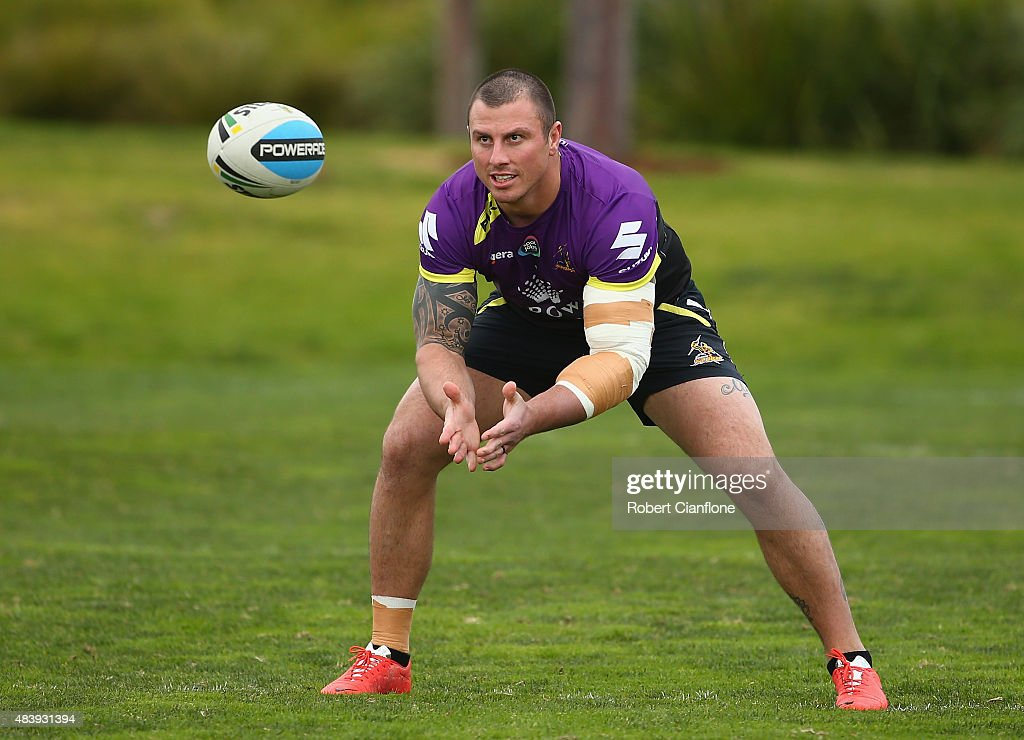 Dayne Weston of the Storm warms up during a Melbourne Storm NRL training session at Gosch's Paddock on August 14, 2015 in Melbourne, Australia.