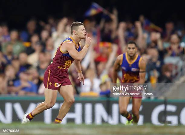 Dayne Zorko of the Lions celebrates a goal during the 2017 AFL round 21 match between the Brisbane Lions and the Gold Coast Suns at the Gabba on...