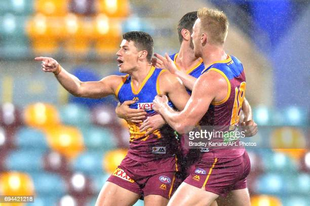 Dayne Zorko of the Lions celebrates a goal during the round 12 AFL match between the Brisbane Lions and the Fremantle Dockers at The Gabba on June 10...