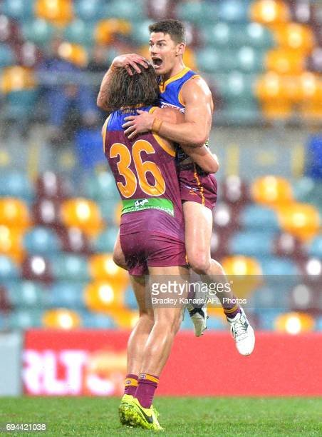 Dayne Zorko of the Lions celebrates after kicking a goal during the round 12 AFL match between the Brisbane Lions and the Fremantle Dockers at The...