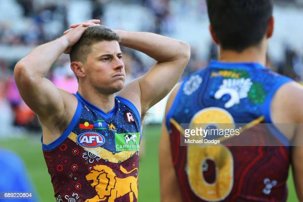 Dayne Zorko of the Lions looks dejected after defeat during the round 10 AFL match between the Collingwood Magpies and Brisbane Lions at Melbourne...