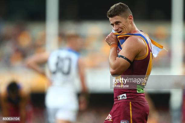 Dayne Zorko of the Lions looks on during the round 21 AFL match between the Brisbane Lions and the Gold Coast Suns at The Gabba on August 12 2017 in...