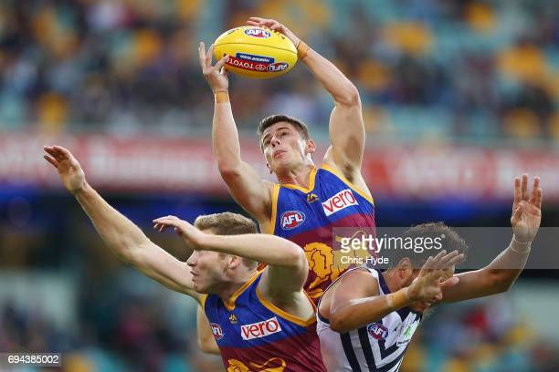 Dayne Zorko of the Lions takes a mark during the round 12 AFL match between the Brisbane Lions and the Fremantle Dockers at The Gabba on June 10 2017...