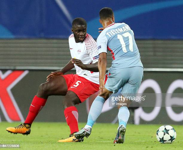 Dayot Upamecano of Leipzig and Youri Tielemans of Monaco battle for the ball during the UEFA Champions League group G match between RB Leipzig and AS...