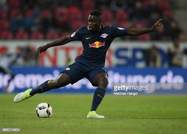 Dayot Upamecano of Leipzig controls the ball during the Bundesliga match between 1 FSV Mainz 05 and RB Leipzig at Opel Arena on April 5 2017 in Mainz...