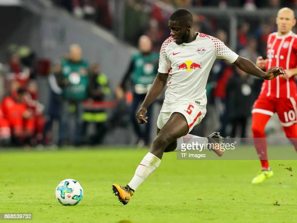 Dayot Upamecano of Leipzig controls the ball during the Bundesliga match between FC Bayern Muenchen and RB Leipzig at Allianz Arena on October 28...