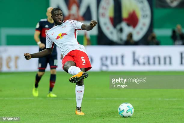 Dayot Upamecano of Leipzig controls the ball during the DFB Cup round 2 match between RB Leipzig and Bayern Muenchen at Red Bull Arena on October 25...