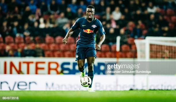 Dayot Upamecano of Leipzig in action during the Bundesliga match between 1 FSV Mainz 05 and RB Leipzig at Opel Arena on April 5 2017 in Mainz Germany