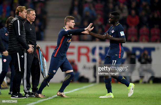 Dayot Upamecano of Leipzig is replaced by Timo Werner during the Bundesliga match between 1 FSV Mainz 05 and RB Leipzig at Opel Arena on April 5 2017...