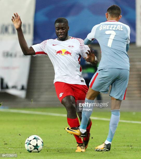 Dayot Upamecano of Leipzig Rachid Ghezzal of Monaco battle for the ball during the UEFA Champions League group G match between RB Leipzig and AS...