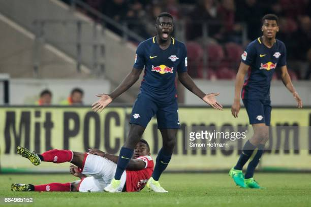 Dayot Upamecano of Leipzig reacts during the Bundesliga match between 1 FSV Mainz 05 and RB Leipzig at Opel Arena on April 5 2017 in Mainz Germany