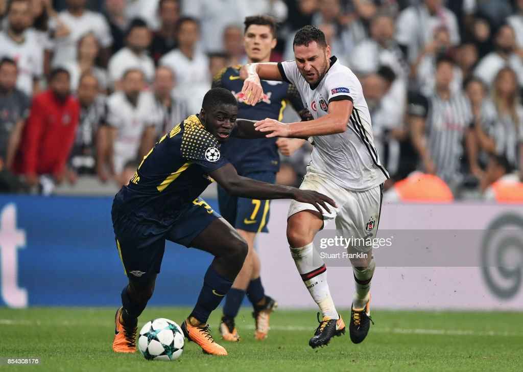 Dayot Upamecano of RB Leipzig and Dusko Tosic of Besiktas battle for possession during the UEFA Champions League Group G match between Besiktas and RB Leipzig at Besiktas Park on September 26, 2017 in Istanbul, Turkey.