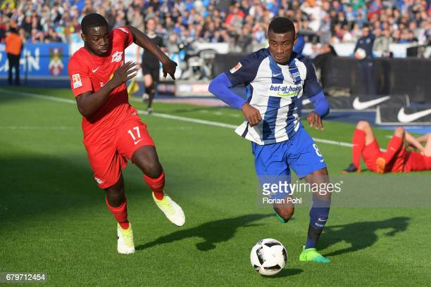 Dayot Upamecano of RB Leipzig and Salomon Kalou of Hertha BSC during the game between Hertha BSC and RB Leipzig on may 6 2017 in Berlin Germany