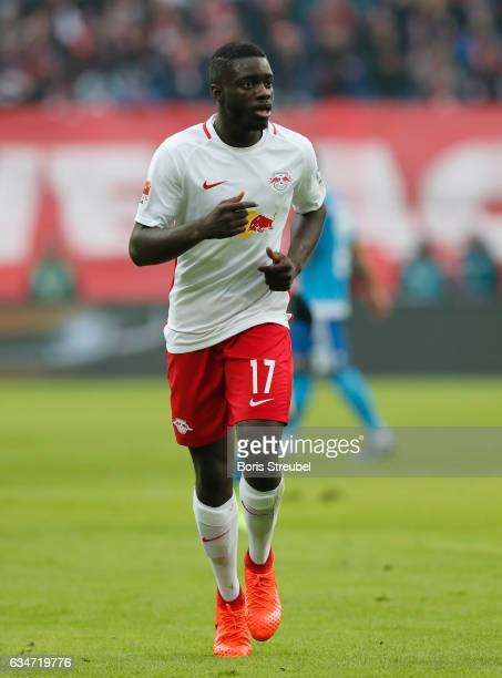 Dayot Upamecano of RB Leipzig looks on during the Bundesliga match between RB Leipzig and Hamburger SV at Red Bull Arena on February 11 2017 in...