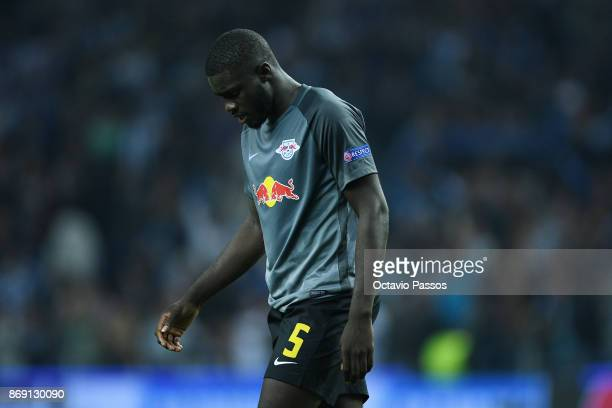 Dayot Upamecano of RB Leipzig reacts at the end of the UEFA Champions League group G match between FC Porto and RB Leipzig at Estadio do Dragao on...