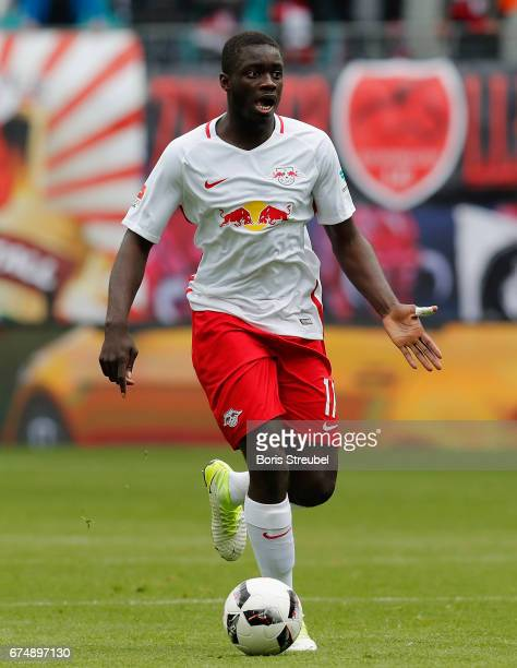 Dayot Upamecano of RB Leipzig runs with the ball during the Bundesliga match between RB Leipzig and FC Ingolstadt 04 at Red Bull Arena on April 29...