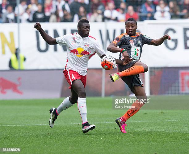 Dayot Upamecano of Salzburg challenges Issiaka Ouedraogo of Wolfsberg during the tipico Bundesliga match between Red Bull Salzburg and Wolfsburger AC...