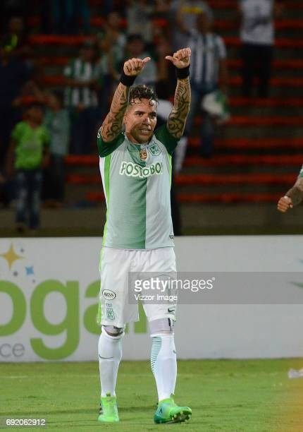 Dayro Moreno of Atletico Nacional celebrates after scoring a goal during the match between Atletico Nacional and Jaguares FC as part of the Liga...
