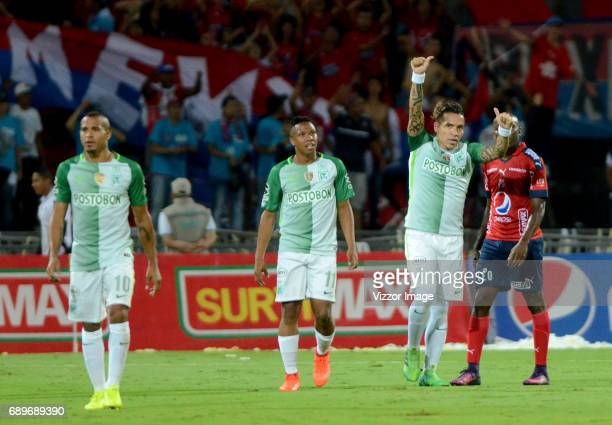 Dayro Moreno of Atletico Nacional celebrates after scoring during a match between Independiente Medellin and Atletico Nacional as part of Liga Aguila...
