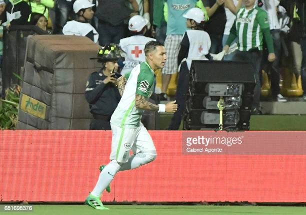 Dayro Moreno of Atletico Nacional celebrates after scoring the first goal of his team during a match between Atletico Nacional and Chapecoense as...
