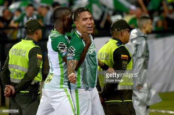 Dayro Moreno of Atletico Nacional celebrates after scoring the first goal of his team during the semi finals second leg match between Atletico...
