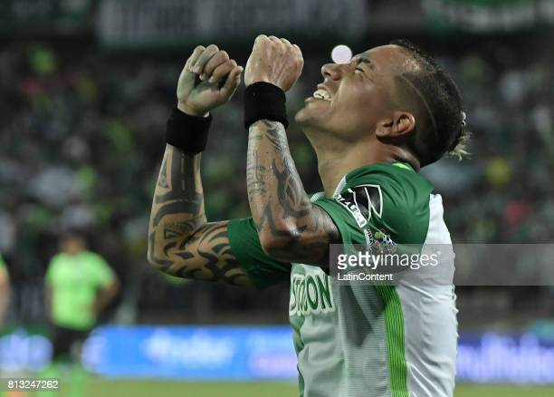 Dayro Moreno of Atletico Nacional celebrates after scoring the fourth goal of his team during the Final second leg match between Atletico Nacional...