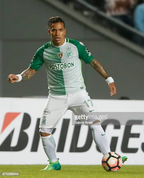 Dayro Moreno of Atletico Nacional drives the ball during a group stage match between Estudiantes and Atletico Nacional as part of Copa CONMEBOL...