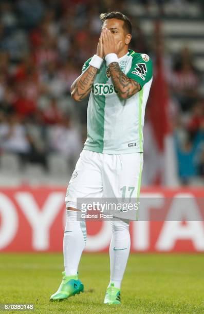 Dayro Moreno of Atletico Nacional reacts during a group stage match between Estudiantes and Atletico Nacional as part of Copa CONMEBOL Libertadores...
