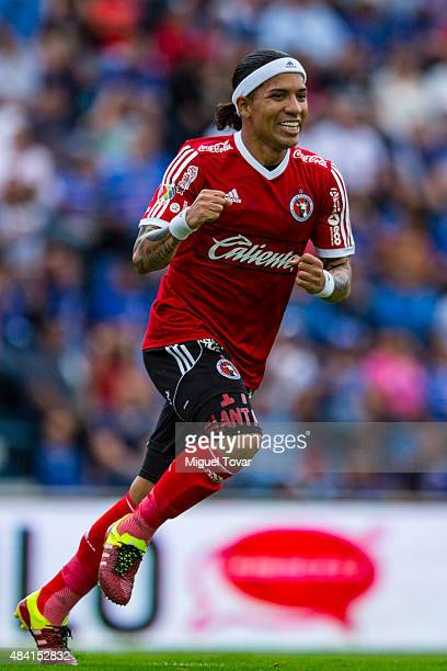 Dayro Moreno of Tijuana celebrates after scoring the first goal of his team during a 5th round match between Cruz Azul and Tijuana as part of the...