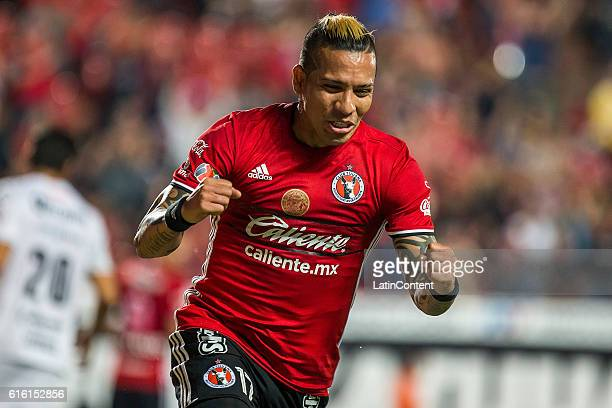 Dayro Moreno of Tijuana celebrates after scoring the second goal of his team during the 14th round match between Tijuana and Chiapas as part of the...